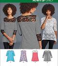 Simplicity Patterns Us8016A-Simplicity Misses\u0027 Knit Tops With Lace Variations-Xxs-Xs-S-M-L-Xl-Xxl