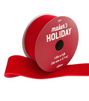 Maker's Holiday Christmas Velvet Ribbon 1.5''x9'-Red