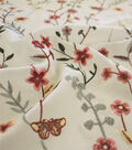 Silky Apparel Fabric-Floral Vine Embroidery on Cream
