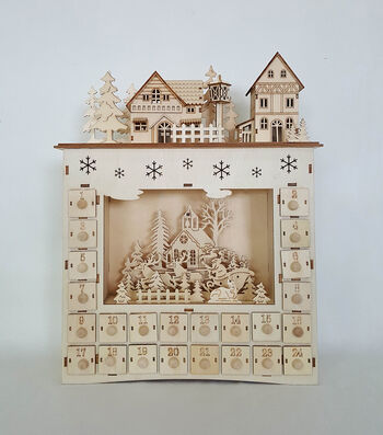 Maker's Holiday Craft Unfinished Wood 3D LED-Advent Christmas Scene