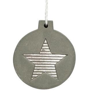 Handmade Holiday Christmas Scandimas Cement Ornament with Star