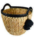 Hudson Finds Small Woven Basket with Black Tassels