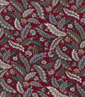 Vintage Cotton Fabric 43\u0027\u0027-Jacobean Leaves on Red