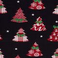 Christmas Cotton Fabric-Plaid Trees On Black