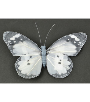 Butterfly with Clip 5''-Gray