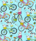 Snuggle Flannel Fabric -Dogs Riding Bikes