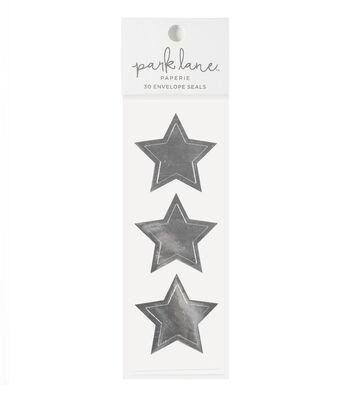 Park Lane 30 pk Star Envelope Seals-Silver