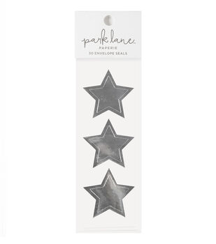 Park Lane 30 pk Star Envelope Seals-Silver