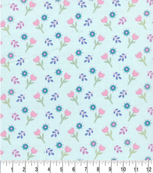 Easter Cotton Fabric-Pastel Spring Tulips