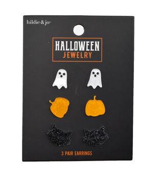 hildie & jo Halloween Jewelry 3 pair Glitter Acrylic Stud Earrings