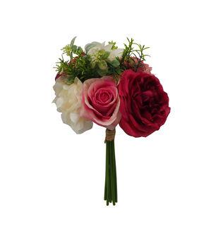 Fresh Picked Spring 13'' Hydrangea & Rose Bouquet-Hot Pink