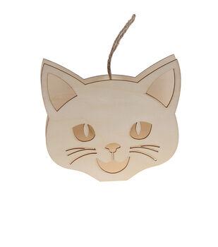 Maker's Halloween Craft 5.7''x5.1'' LED Cat Face Ornament
