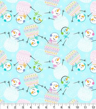 Super Snuggle Flannel Fabric-Happy Pattern Snowmen