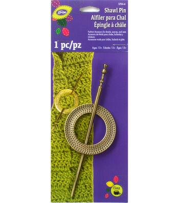 Textured Round Metal Shawl Pin Brass
