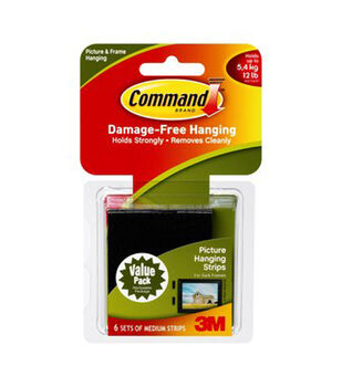 Command Medium Picture Hanging Strips-Black