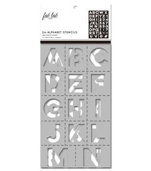 Fab Lab 2 pk 7''x20'' Stencils-Block Uppercase Alphabet & Numbers