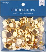 hildie & jo 120 pk 1.3 oz. Assorted Plastic Flat Back Rhinestones-Gold, , hi-res