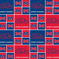 Ole Mississippi Rebels Cotton Fabric -Block