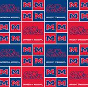 "Ole Mississippi Rebels Cotton Fabric 43""-Block, , hi-res"
