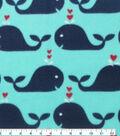Blizzard Fleece Fabric 59\u0022-Whale And Hearts