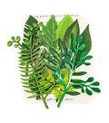 Prima Marketing Printed Fabric Leaf Embellishments 12/Pkg-Evergreen