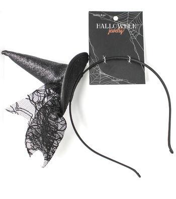 hildie & jo Halloween Headband with Witch Hat-Black