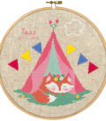 Vervaco 8\u0027\u0027 Counted Cross Stitch Kit-Small Fox in Tent & Birth Record