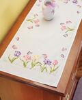 Tulip Garden Dresser Scarf Stamped Embroidery-14\u0022X35\u0022