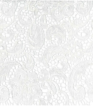 Save The Date Heavy Lace Fabric -Embroidered White