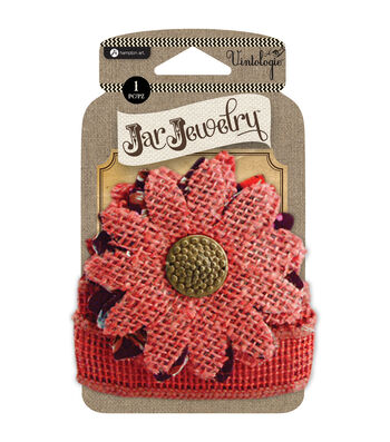 Embellished Burlap Flowers For Pint Jars W/Tie-Red