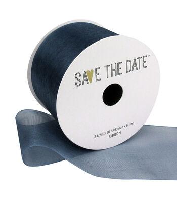 "Save the Date 2.5"" x 30ft Ribbon-Cornflower Blue Sheer"