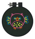 Learn-A-Craft Owl Stamped Embroidery Kit-3\u0022 Round Stitched In Thread