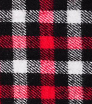 Plaiditudes Brushed Cotton Fabric-Red, Black & White Checks