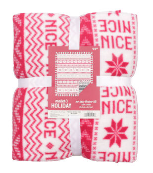 "No Sew Fleece Throw 72""-Naughty and Nice"