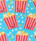 Blizzard Fleece Fabric 59\u0022-Happy Popcorn On Aqua
