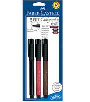 PITT Calligraphy Pen 2mm Chisel Tip 3/Pkg-Cranberry Red, Black, Sepia, , hi-res