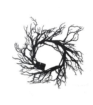 Maker's Halloween LED Twig Wreath-Black