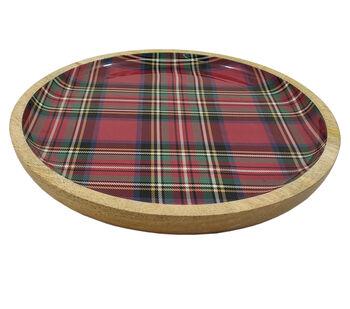 Handmade Holiday Christmas Wooden Round Platter-Plaid