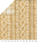 Double Faced Glitter Quilt Fabric-Cream Cable Knit