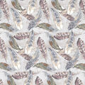 Harvest Cotton Fabric-Watercolor Fall Feathers