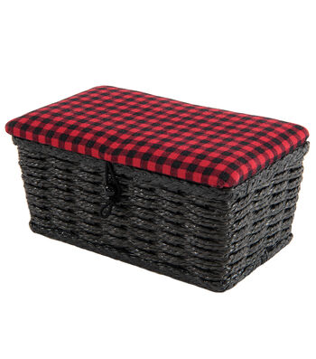 Rectangle Sewing Basket-Red & Black Check