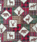 Anti-Pill Plush Fleece Fabric-Everest Sihlouette Plaid Patch