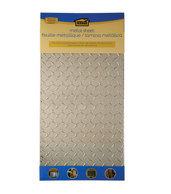 "Silver Colored Metal Sheet 12""X24""-Diamond Tread"