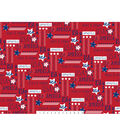 Patriotic Cotton Fabric -Stars With Words