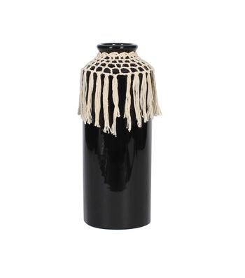 Hello Spring Tall Black Ceramic Vase with Fringe