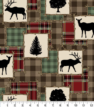 Super Snuggle Flannel Fabric-Patchwork Silhouette Animals