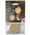 Cross Stitch Style 4 Pack Wood Charms-Bird, Apple, Arrow & Flower