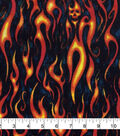 Novelty Cotton Fabric-Flame Skulls