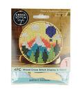 Cross Stitch Style Wood Circle Cross Stitch Display & Stand