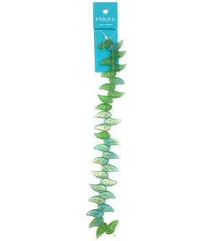 hildie & jo 7'' Aurora Borealis Leaf Glass Strung Beads-Green